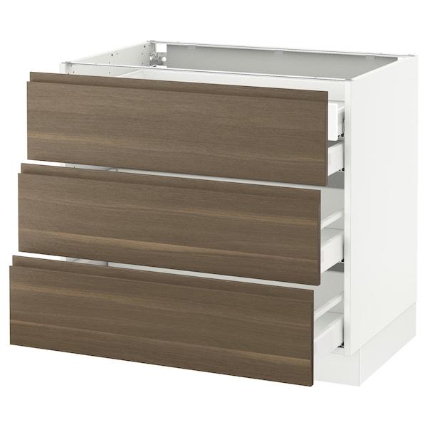 "SEKTION Base cabinet w/3 fronts & 4 drawers, white Maximera/Voxtorp walnut, 36x24x30 """