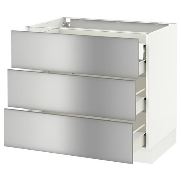 "SEKTION base cabinet w/3 fronts & 4 drawers white Förvara/Grevsta stainless steel 36 "" 24 "" 24 3/4 "" 30 """