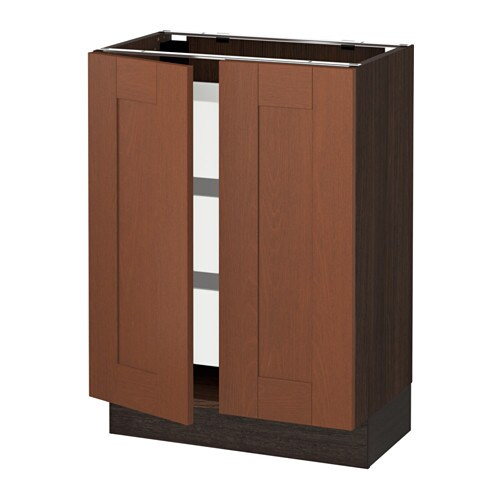 Sektion base cabinet w 2 doors 3 drawers wood effect for Wood effect kitchen doors