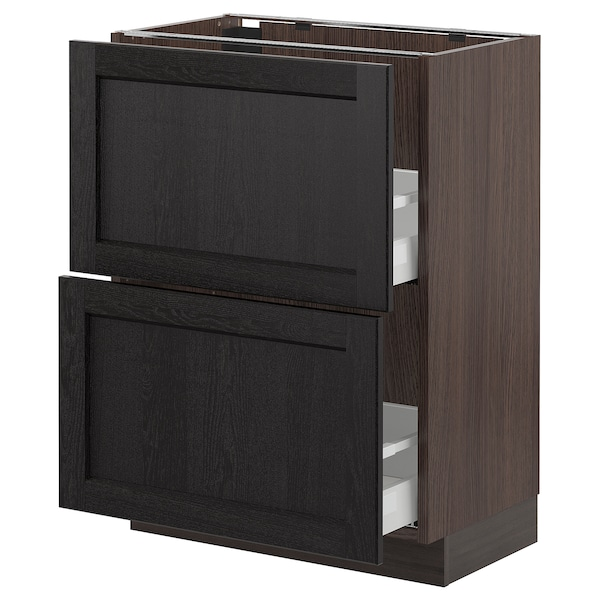 """SEKTION Base cabinet with 2 drawers, brown Maximera/Lerhyttan black stained, 24x15x30 """""""