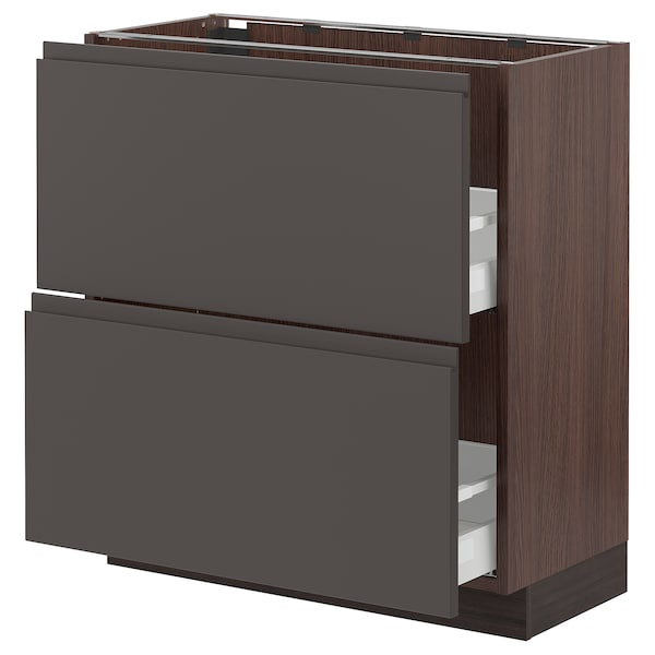 SEKTION Base cabinet with 2 drawers, brown Maximera/Voxtorp dark gray, 30x15x30 ""