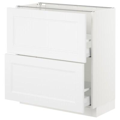 "SEKTION Base cabinet with 2 drawers, white Maximera/Axstad matt white, 30x15x30 """