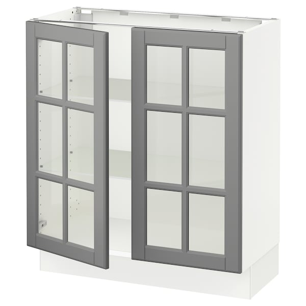 SEKTION Base cabinet with 2 glass doors, white/Bodbyn gray, 30x15x30 ""