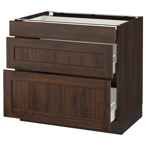 "SEKTION Base cabinet with 3 drawers, brown Förvara/Edserum brown, 36x24x30 """
