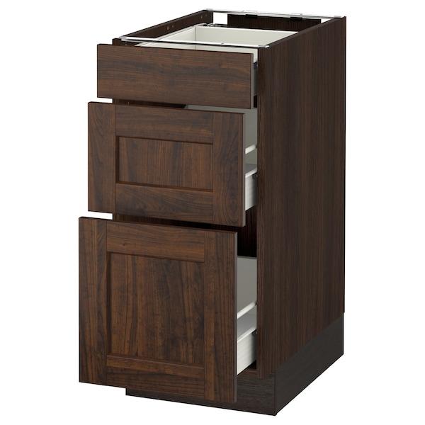 "SEKTION Base cabinet with 3 drawers, brown Förvara/Edserum brown, 15x24x30 """