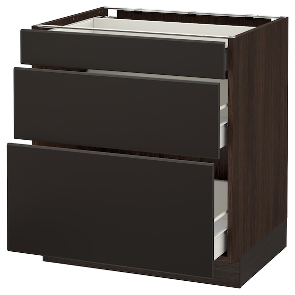 """SEKTION Base cabinet with 3 drawers, brown Förvara/Kungsbacka anthracite, 30x24x30 """""""