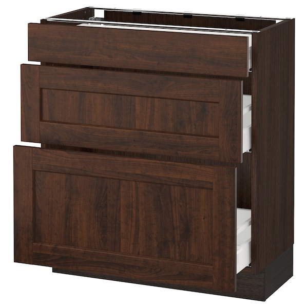 SEKTION Base cabinet with 3 drawers, brown Maximera/Edserum brown, 30x15x30 ""