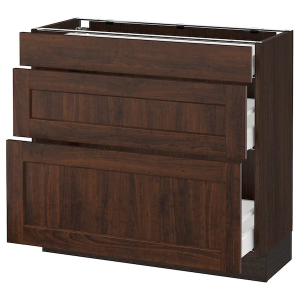 SEKTION Base cabinet with 3 drawers, brown Maximera/Edserum brown, 36x15x30 ""