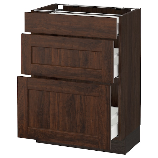 SEKTION Base cabinet with 3 drawers, brown Maximera/Edserum brown, 24x15x30 ""