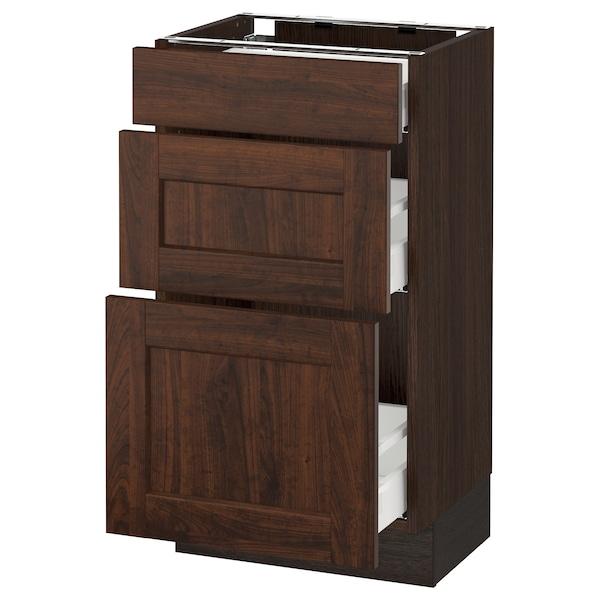"SEKTION Base cabinet with 3 drawers, brown Maximera/Edserum brown, 18x15x30 """