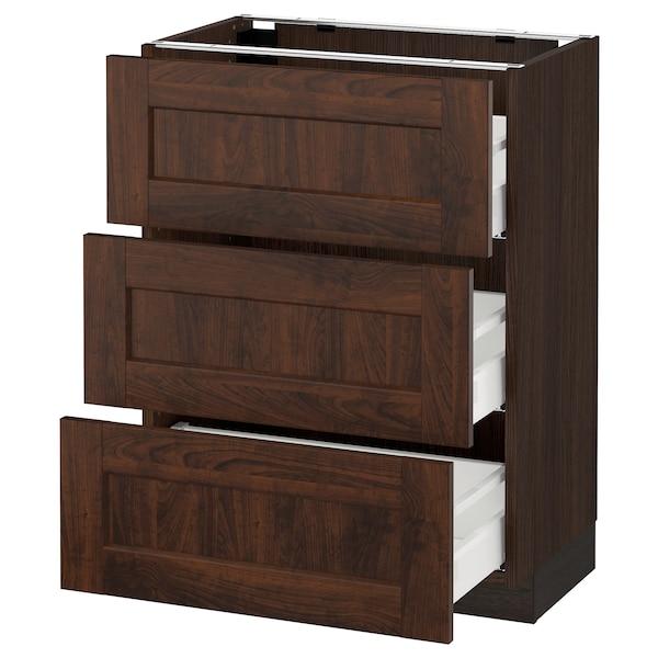 "SEKTION Base cabinet with 3 drawers, brown Maximera/Edserum brown, 24x15x30 """