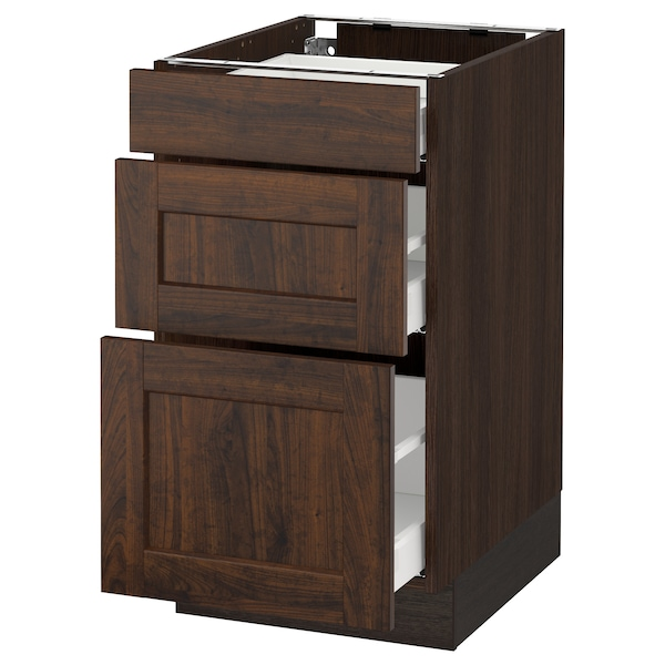 SEKTION Base cabinet with 3 drawers, brown Maximera/Edserum brown, 18x24x30 ""