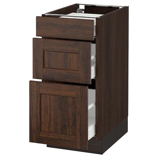 "SEKTION Base cabinet with 3 drawers, brown Maximera/Edserum brown, 15x24x30 """