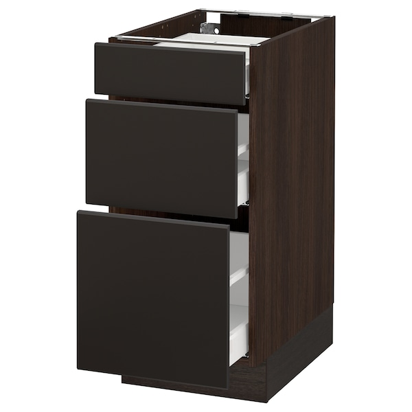 """SEKTION Base cabinet with 3 drawers, brown Maximera/Kungsbacka anthracite, 15x24x30 """""""