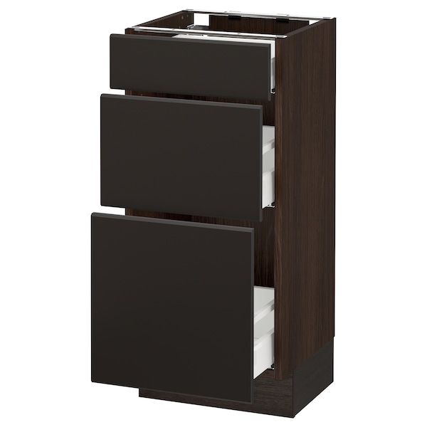 """SEKTION Base cabinet with 3 drawers, brown Maximera/Kungsbacka anthracite, 15x15x30 """""""