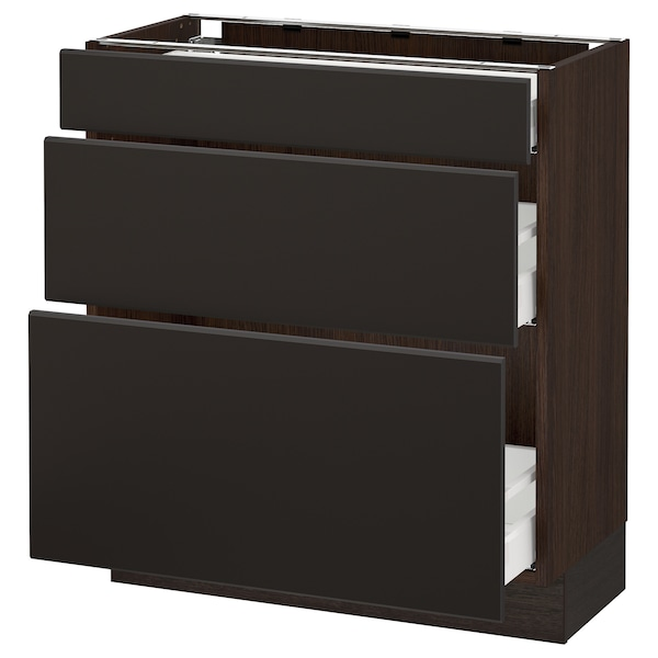 """SEKTION Base cabinet with 3 drawers, brown Maximera/Kungsbacka anthracite, 30x15x30 """""""