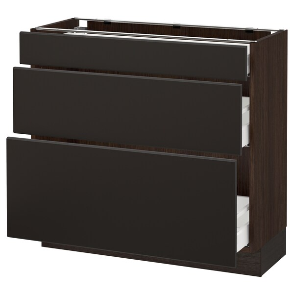 """SEKTION Base cabinet with 3 drawers, brown Maximera/Kungsbacka anthracite, 36x15x30 """""""