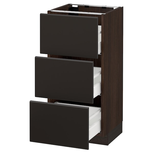 SEKTION Base cabinet with 3 drawers, brown Maximera/Kungsbacka anthracite, 15x15x30 ""
