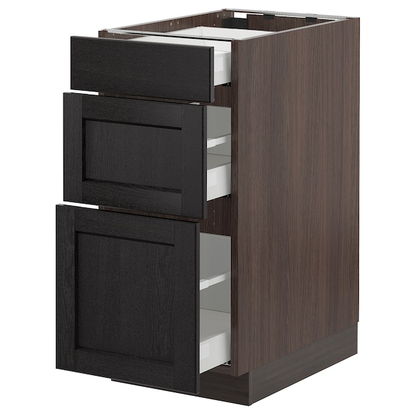 """SEKTION Base cabinet with 3 drawers, brown Maximera/Lerhyttan black stained, 15x24x30 """""""