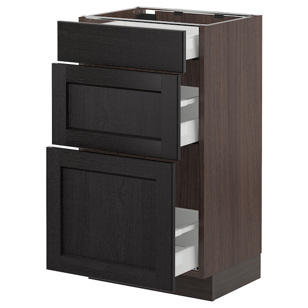 """SEKTION Base cabinet with 3 drawers, brown Maximera/Lerhyttan black stained, 18x15x30 """""""