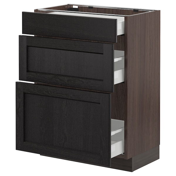 SEKTION Base cabinet with 3 drawers, brown Maximera/Lerhyttan black stained, 24x15x30 ""
