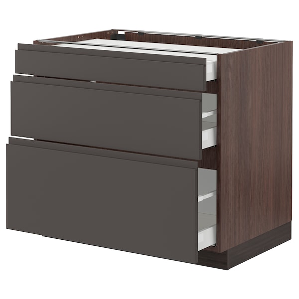 """SEKTION Base cabinet with 3 drawers, brown Maximera/Voxtorp dark gray, 36x24x30 """""""
