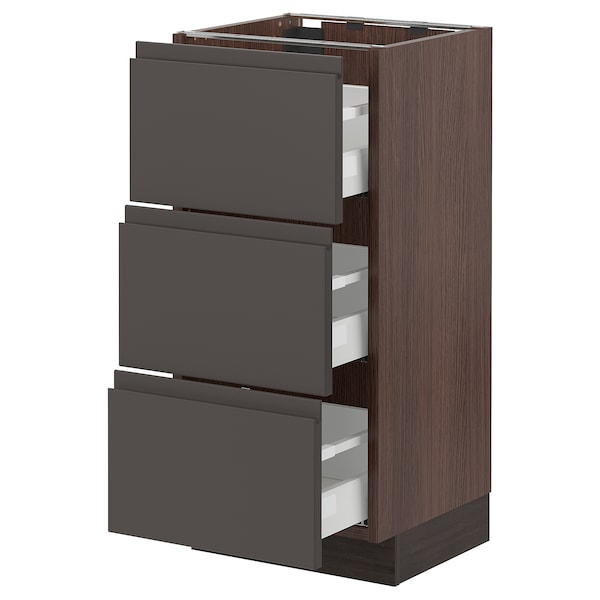 """SEKTION Base cabinet with 3 drawers, brown Maximera/Voxtorp dark gray, 15x15x30 """""""