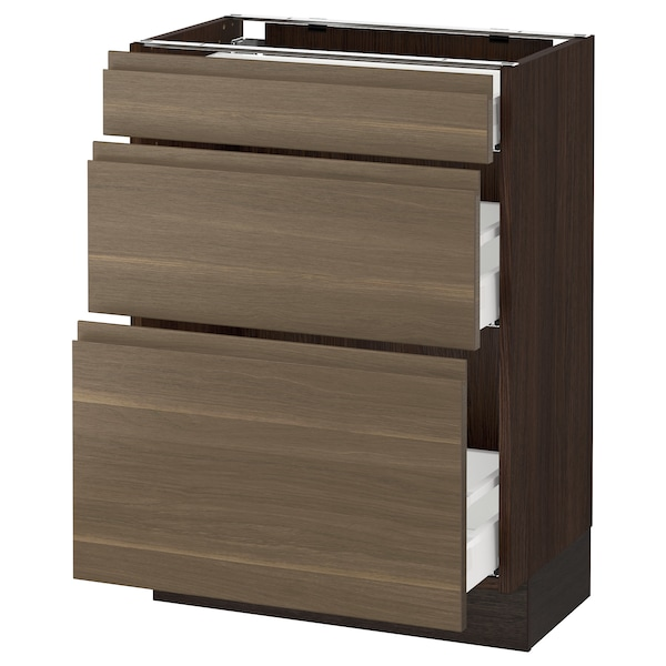 SEKTION Base cabinet with 3 drawers, brown Maximera/Voxtorp walnut, 24x15x30 ""