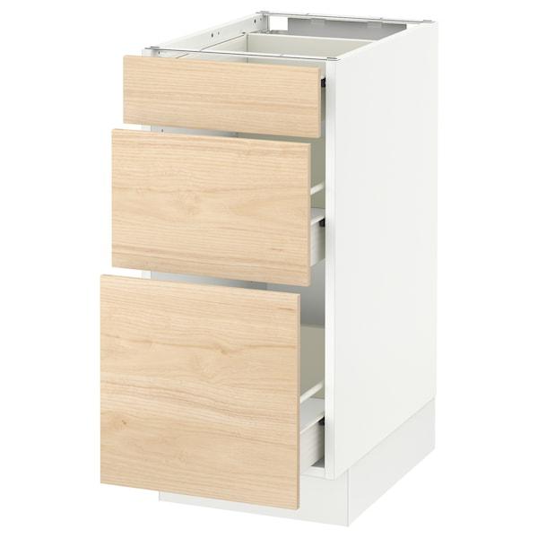 "SEKTION Base cabinet with 3 drawers, white Förvara/Askersund light ash effect, 15x24x30 """
