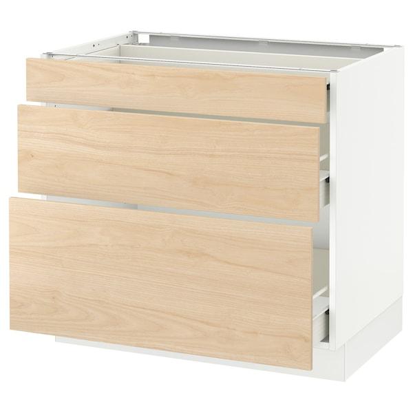"SEKTION Base cabinet with 3 drawers, white Förvara/Askersund light ash effect, 36x24x30 """
