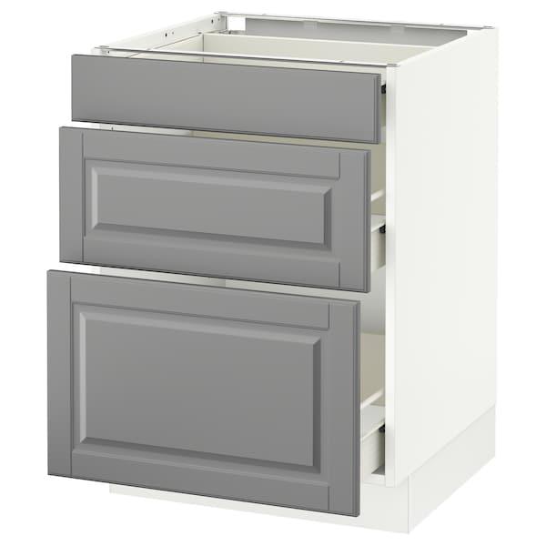 "SEKTION Base cabinet with 3 drawers, white Förvara/Bodbyn gray, 24x24x30 """