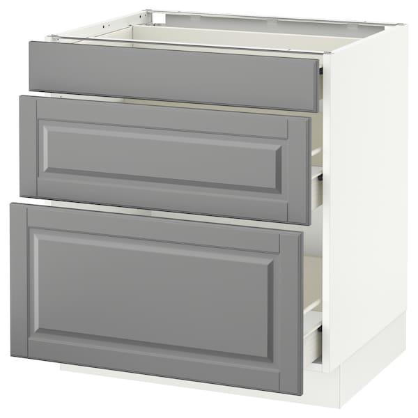 "SEKTION Base cabinet with 3 drawers, white Förvara/Bodbyn gray, 30x24x30 """