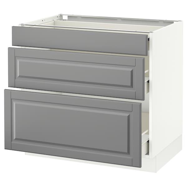 "SEKTION Base cabinet with 3 drawers, white Förvara/Bodbyn gray, 36x24x30 """