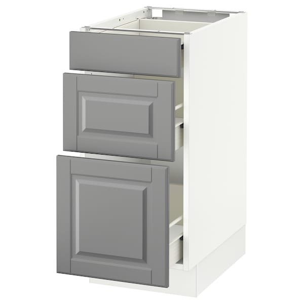 "SEKTION Base cabinet with 3 drawers, white Förvara/Bodbyn gray, 15x24x30 """