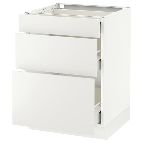 SEKTION Base cabinet with 3 drawers, white Förvara/Häggeby white, 24x24x30 ""