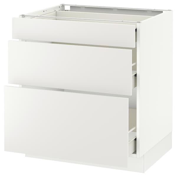 "SEKTION Base cabinet with 3 drawers, white Förvara/Häggeby white, 30x24x30 """
