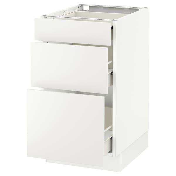 "SEKTION Base cabinet with 3 drawers, white Förvara/Häggeby white, 18x24x30 """
