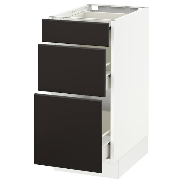 """SEKTION Base cabinet with 3 drawers, white Förvara/Kungsbacka anthracite, 15x24x30 """""""