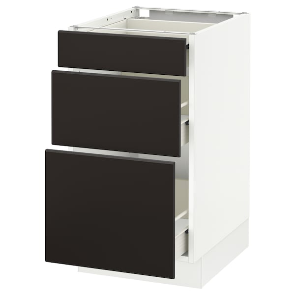 """SEKTION Base cabinet with 3 drawers, white Förvara/Kungsbacka anthracite, 18x24x30 """""""