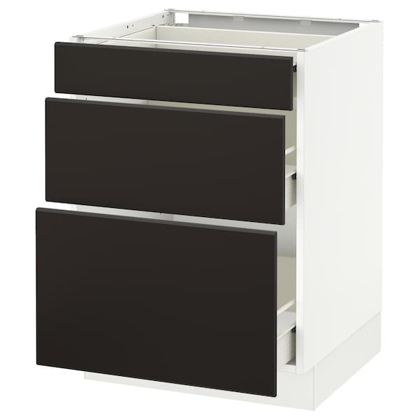 """SEKTION Base cabinet with 3 drawers, white Förvara/Kungsbacka anthracite, 24x24x30 """""""