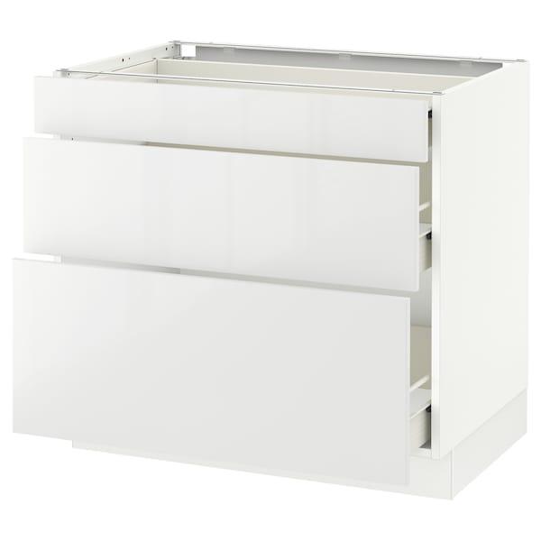 "SEKTION Base cabinet with 3 drawers, white Förvara/Ringhult white, 36x24x30 """