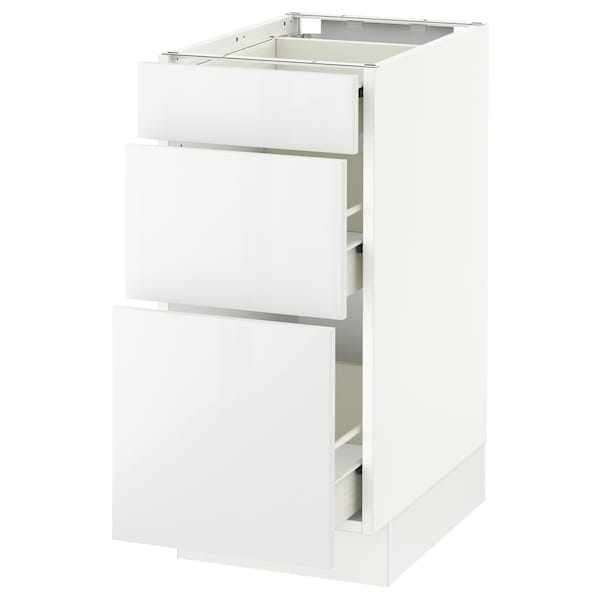 SEKTION Base cabinet with 3 drawers, white Förvara/Ringhult white, 15x24x30 ""