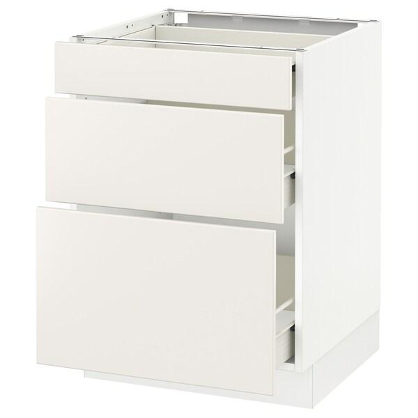"SEKTION Base cabinet with 3 drawers, white Förvara/Veddinge white, 24x24x30 """