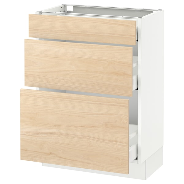 "SEKTION Base cabinet with 3 drawers, white Maximera/Askersund light ash effect, 24x15x30 """