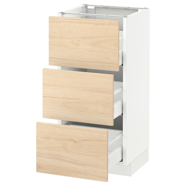 SEKTION Base cabinet with 3 drawers, white Maximera/Askersund light ash effect, 15x15x30 ""