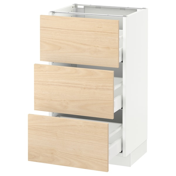 SEKTION Base cabinet with 3 drawers, white Maximera/Askersund light ash effect, 18x15x30 ""