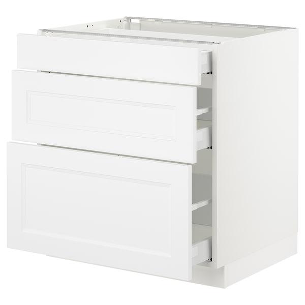 "SEKTION Base cabinet with 3 drawers, white Maximera/Axstad matt white, 30x24x30 """