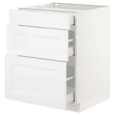"SEKTION Base cabinet with 3 drawers, white Maximera/Axstad matt white, 24x24x30 """
