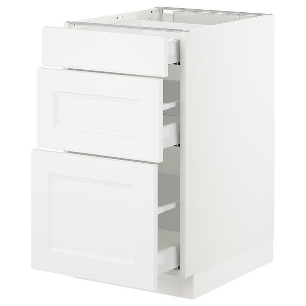 "SEKTION Base cabinet with 3 drawers, white Maximera/Axstad matt white, 18x24x30 """