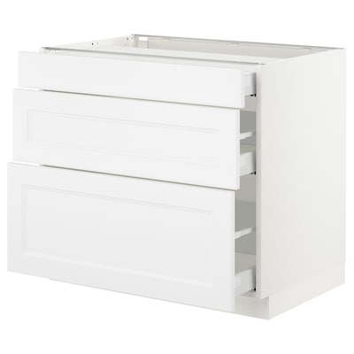 SEKTION Base cabinet with 3 drawers, white Maximera/Axstad matt white, 36x24x30 ""